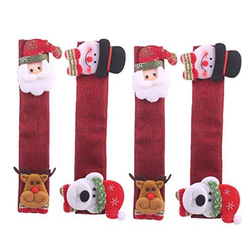 XINGYUE 4 unids/set de arpillera Navidad nevera puerta manija cubierta para cocina microondas lavavajillas decoraciones