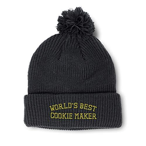 Custom Pom Pom Beanie Worlds Best Cookie Maker Embroidery Acrylic Skull Cap Winter Hat for Men & Women Black Design Only