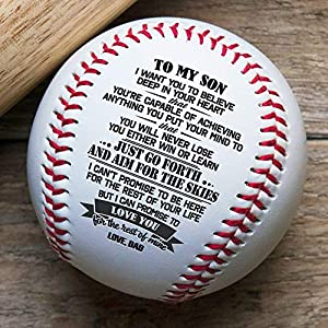 ✔ 【CHERISHED GIFT】 - This is a beautiful baseball with a meaningful message printed on the ball which helps it last forever. This printed baseball is perfect!!! A gift that he will treasure for a lifetime. The best present anyone could wish for, perf...