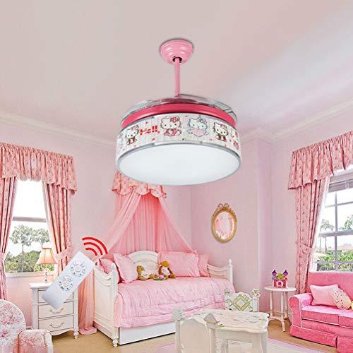 OOWOKS Luz de Techo LED para Ventilador Infantil Ventilador de Techo con iluminación Lámpara de Techo niña Rosa Diseño de Hello Kitty 48W Regulable con Mando a Distancia Lámpara de Cielo Raso