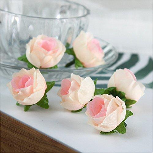 Gaeruite - Cabeza de rosas artificiales de simulación de seda, 50 unidades, diseño de flores artificiales, para manualidades, decoración de bodas y flores, 16 colores, seda sintética, champán, 50 pcs