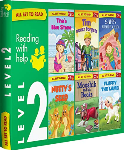 All set to Read- Readers Level 2- Assisted reading with slightly longer sentences- READERS- 6 books in a Green Box