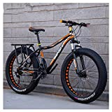 Xiaoyue Adult Fat Tire Mountain Bikes, Doppelscheibenbremse Hardtail Mountainbike, Vorderachsfederung Fahrrad, Frauen All Terrain Mountainbike, orange A, 26-Zoll-27-Speed lalay