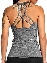 Women Workout Yoga Tank Top Sleeveless Open Back Sport Bras Activewear Racerback Padded Shirt