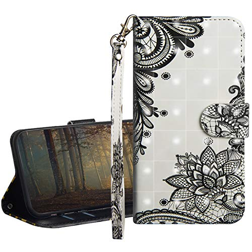 GrandoinChoice Kompatibel mit LG Q6 / LG G6 Mini Hülle,3D Gemalt Muster PU Leder Etui Flip Cover Book Case Schutzhülle Handytasche Handyhülle + Soft Silikon TPU Innere Schale Etui(Schwarze Spitze)
