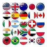 Toyvian 25 Piezas Pegatinas de Nevera de Bandera Nacional Pegatinas de Imanes de Nevera de Cristal Nacional Decoración del Hogar para Pizarras de Calendario de Oficina