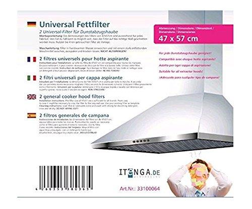 2x itenga Universal Dunstfilter/Fettfilter für jede Dunstabzugshaube geeignet- zuschneidbar 47x57cm - Flachfilter - 2er Set