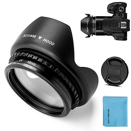 Fotover Anillo adaptador de filtro de metal de 58 mm con filtro UV para Canon PowerShot SX30 IS/SX40 HS/SX50 HS de repuesto para cámara digital Canon FA-DC67A + parasol de lente de flor de tulipán