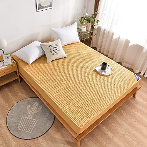 haiba Protector de colchón impermeable, ajustable, transpirable, a prueba de manchas, hipoalergénico y no ruidoso, fácil ajuste, tamaño king 180 x 220 cm