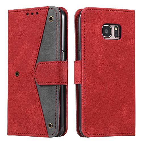 HOUSIM Funda para [Samsung S7 Edge], PU Cuero Slim Case de Estilo Función Stand Billetera Carcasa [Cierre Magnético] Fundas para Samsung Galaxy S7 Edge - HOHHA180447 Rojo