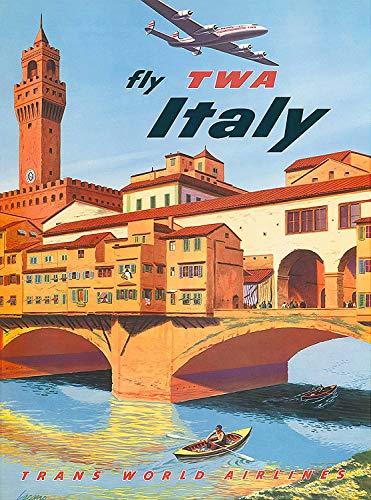Metal Decor Vintage Wall Tin Sign 12x16Inch,Fly TWA Italy Florence Italian Europe European,Decor for Coffee Office Pool Yard Public Toilet Parking Home Wall Decor,Vintage Art Poster, Home Wall Decor