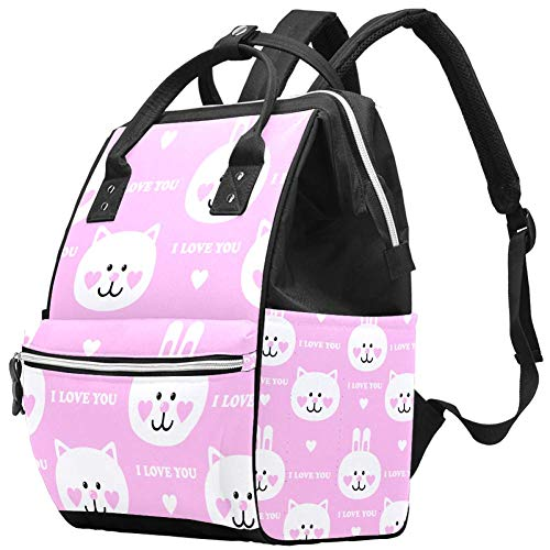 Background with Rabbits and Kittens Travel Rucksack Casual Daypack Maternity Nappy Bag Organizer Nursing Bottle Bag