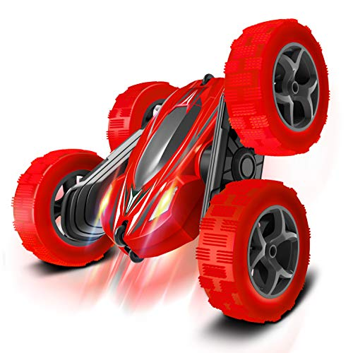 Toys Remote Control Car for Kids: Red 4WD Stunt RC Cars with 2 Rechargeable Battery - Double Sliding Hobby Car Birthday Gifts for Toddlers at Age of 6 7 8 9 10 Boys & Girls