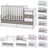 Lit bébé évolutif/ combiné Maxi Plus blanc/café Lorelli (Le lit se transforme en lit d'adolescent, bureau, armoire...