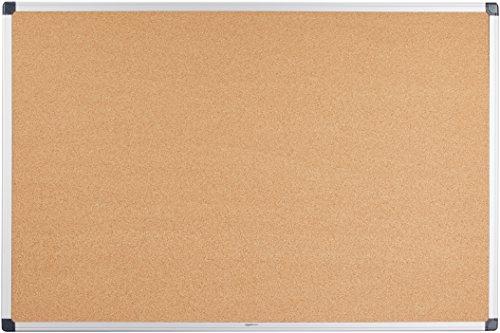 Amazon Basics - Notizbrett aus Kork, Aluminumrahmen, 90 x 60 cm
