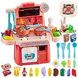 Hersity 26 piezas cocinitas de juguetes alimentos cocina juguete con luz y sonido función de agua plastico regalos para niños niñas 3 4 5 6 años