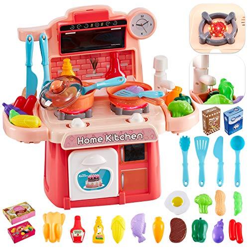 HERSITY Kinderküche mit Wasserpumpe Herd Spielzeug Spielküche Zubehör mit Sound Licht Lebensmittel Küchenspielzeug für Kinder 3 4 5 Jahre