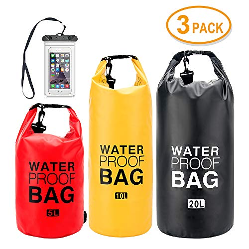 ATOO  Set of 35L/10L/20L  Waterproof Dry Bag with Shoulder Stripe Roll Top Sack Keeps Gear Dry for Kayaking Beach Rafting Boating Hiking Camping and Fishing with Free Waterproof Phone Case