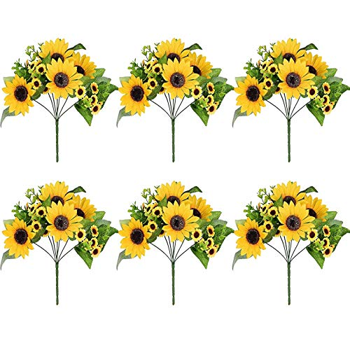 6 Pack Artificial Sunflower Bouquet 12 Inch Fake Sunflowers with Stem 13 Pcs Sunflowers Heads(4 Big + 9 Small) and 27 Silk Leaves for Office Home Birthday Party Indoor Outdoor Decoration