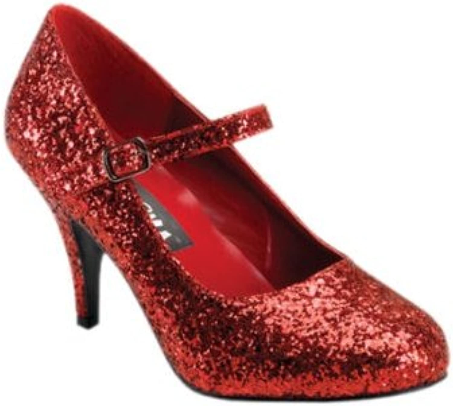 Pleaser GLINDA-50G, Red Glittre Mary Jane shoes, 3