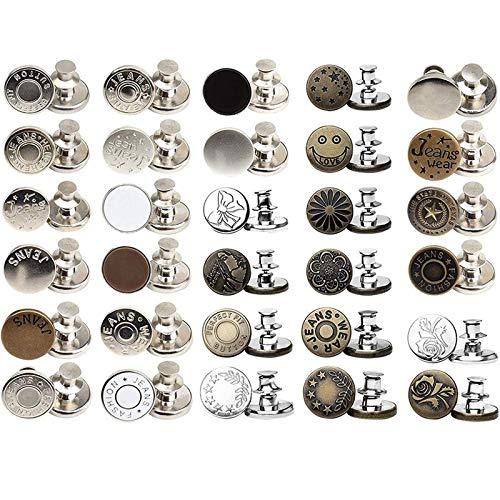 30 juegos de botones instantáneos con botones de Jean, sin coser, instalación simple, reutilizables y...