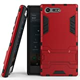 Case for Sony Xperia X Compact (4.6 inch) 2 in 1 Shockproof with Kickstand Feature Hybrid Dual Layer Armor Defender Protective Cover (Red)