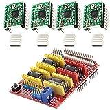 AZDelivery CNC Shield V3 set con 4 x A4988 motor paso a paso con disipador de calor para Arduino e impresoras 3D