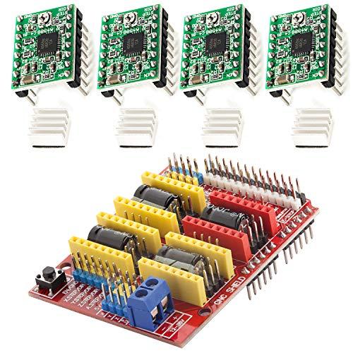 AZDelivery CNC Shield V3 Bundle mit 4 Stück A4988 Schrittmotor Treiber Stepper mit Kühlkörper kompatibel mit Arduino, 3D Drucker inklusive E-Book!
