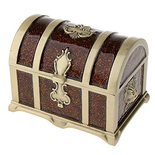 Bonarty Esmalte Pirata Cofre del Tesoro Caja Joyería Regalos Caja de Almacenamiento Adorno de Escritorio - marrón, Individual
