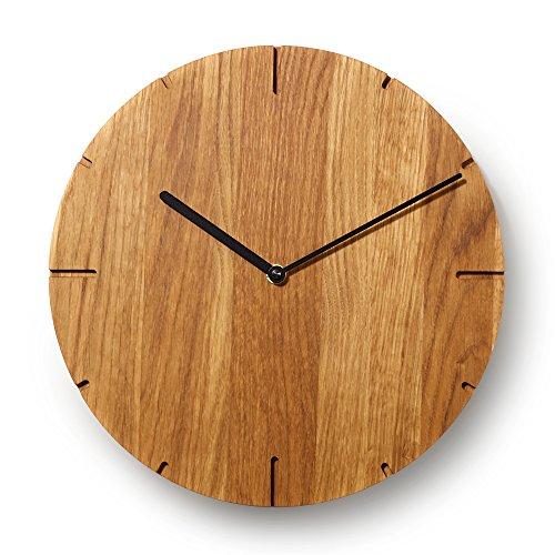 Natuhr Wanduhr Eiche geölt Holz Solide Massivholz, geräuscharmes Junghans Uhrwerk, puristisch, modern, Made in Germany (Schwarze Zeiger)