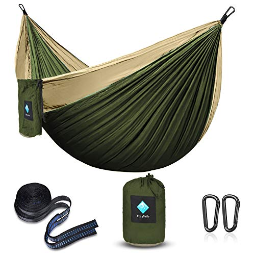 ERUW CozyHoliv Camping Hammock, Portable Parachute Hammocks for Outdoor Hiking Travel Backpacking - 210D Nylon Hammock Swing for Backyard & Garden (78''W118''L, Green)