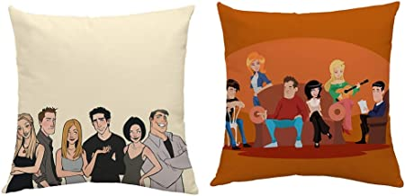Friends Tv Show Pillow Case Introduce Linen Cushion Pillow Covers for 18x18 inches Squares Couch Sofa Cushion Covers