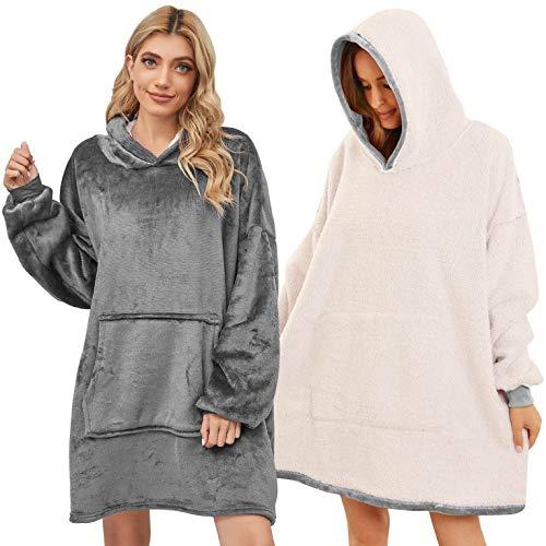 CMTOP Blanket Hoodie Übergroße Hoodie Sweatshirt Original Decke Sweatshirt super weiche gemütliche warme komfortable Riesen-Hoodie, 1 Größe passt alle, Männer, Frauen, Jugendliche