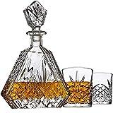 XUFAN Decantador de Whisky del hogar con 2 Gafas de Whisky Vintage para Bourbon o Vino Vasos de Whisky (Color : A)