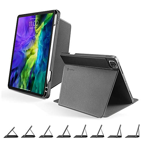 tomtoc Smart Tri-Case for 11-inch iPad Pro (1st/2nd Gen) 2018-2020, Protective Cover with Magnetic Kickstand for 3 Use Modes/Multi-Angle Viewing and Typing, Support iPad Pencil Wirelessly Charging