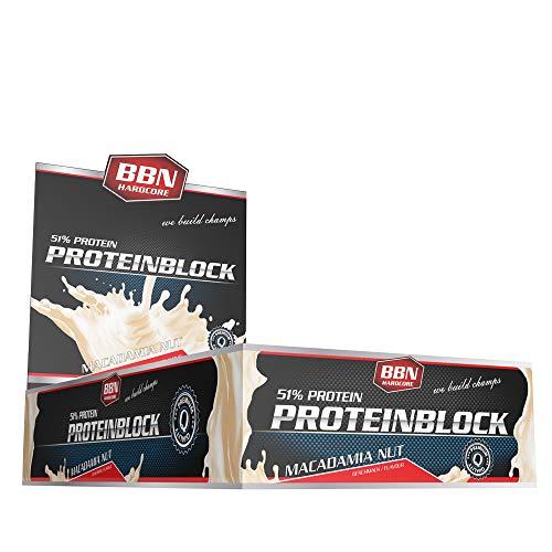 Best Body Nutrition - 50 % Protein Block Eiweiss Riegel, Macadamia Nut, 15er Pack (15 x 90 g)