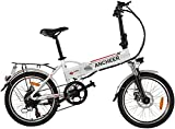 ANCHEER Folding Electric Bike for Adults, 20' Electric Bicycle/Commute Ebike with 250W Motor, 36V 8Ah Battery, Professional 7 Speed Transmission Gears (White)