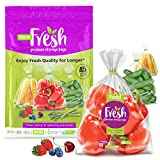 45 Bags!!! (20M, 20L, 5XL) Fresh Produce Bags for Fridge Storage, Reusable, BPA Free, Store Vegetables, Fruits, and Herbs, Retains Freshness and Extends Shelf Life, by Xtend