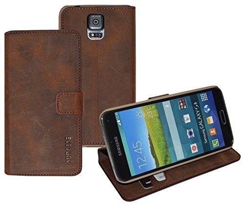 Book-Style Ledertasche Tasche für Samsung Galaxy S5 *ECHT LEDER* Handytasche Case Etui Hülle (Original Suncase®) in antik - coffee (UVP 29.90€)