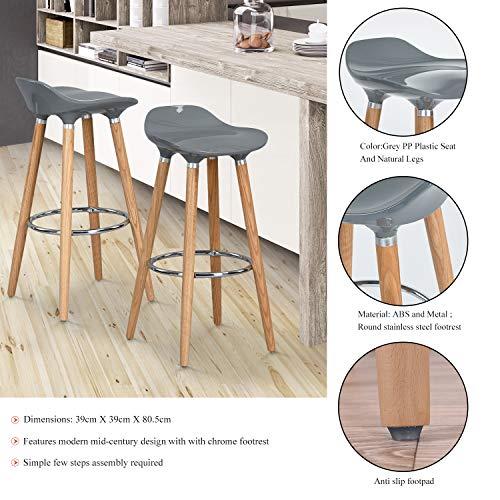 FurnitureR Juego de 2 taburetes, taburete de bar moderno, cómodo y sin brazos, taburetes de bar de…