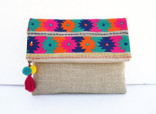 VLiving Boho Tasche, Leinen Tasche, Kelim Muster, marokkanisches, Foldover Kupplung, bestickt, 25,4x 20,3cm