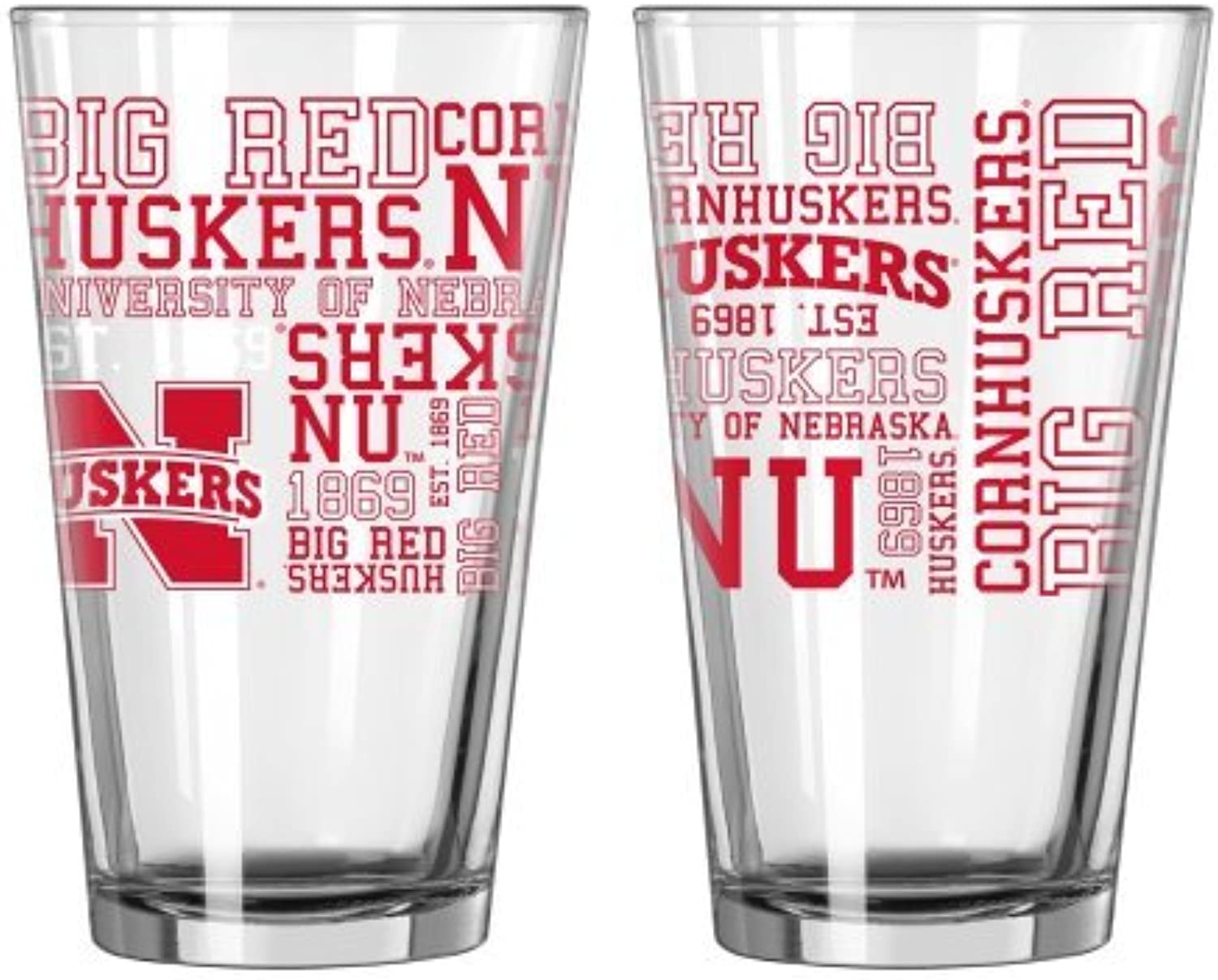 NCAA NebraskaSpirit Pint Glasses (2)   Nebraska Cornhuskers 16 oz. Beer PintsSet of 2