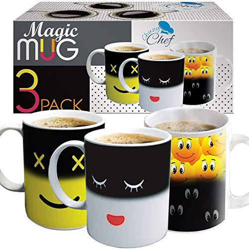 Heat Sensitive Coffee Magic Mugs - Set of Color Cute Coffee Tea Unique Changing Heat Cup 12 oz White...