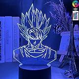 Luz de noche LED 3d dragon ball goku super saiyan figura luz de noche decoración de dormitorio para niños atmósfera colorida junto a la cama luces 3d