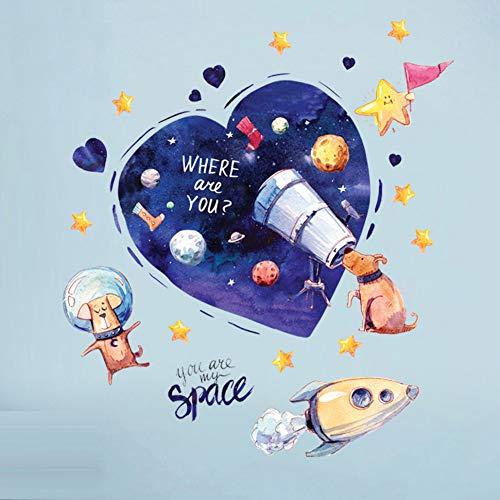PISKLIU Muurstickers, Muurtattoo, motief van de hond, blauw, hart, cartoon, DIY Wall Art Decal, decoratie, zelfklevend, voor kinderkamer