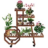 Wood Plant Stand with Wheels Multi-Layer Rolling Plant Stand Rack Flower Plant Display Shelf for Patio Garden Corner Balcony …