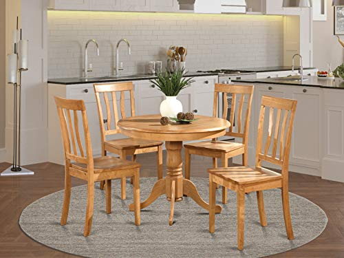East West Furniture modern dining table set 4 Amazing dining room chairs - A Attractive pedestal dining table- Oak Color Wooden Seat Oak round kitchen table