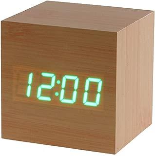 New Cube Square Kids Favors Home Decoration Digital LED Alarm Clock Desktop Decor Thermometer Calendar Display(Bamboo Wood Green LED)