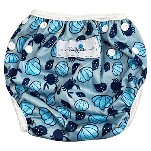 Babyino wiederverwendbare Schwimm-Windel | Bade-Hose für Babys und Kleinkinder (Muschel Blau) 6 bis 24 Monate Verstellbare Größe mitwachsende Schwimm-Kleidung