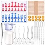 Practical chess mold set: you will get 2 pieces chess silicone molds and DIY making tool set, including 1 x 100 ml silicone cup, 1 x stainless steel tweezers, 5 x 3 ml plastic droppers, 5 x plastic spoons, 10 x mini plastic cups with handle, 10 x fin...